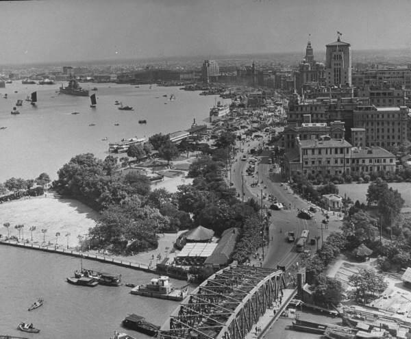 An aerial view of the Bund 1940s Shanghai