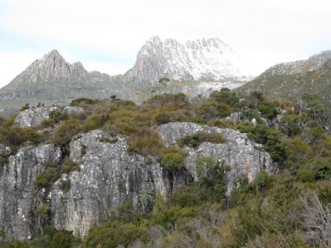snow capped Cradle Mountain in Tasmania