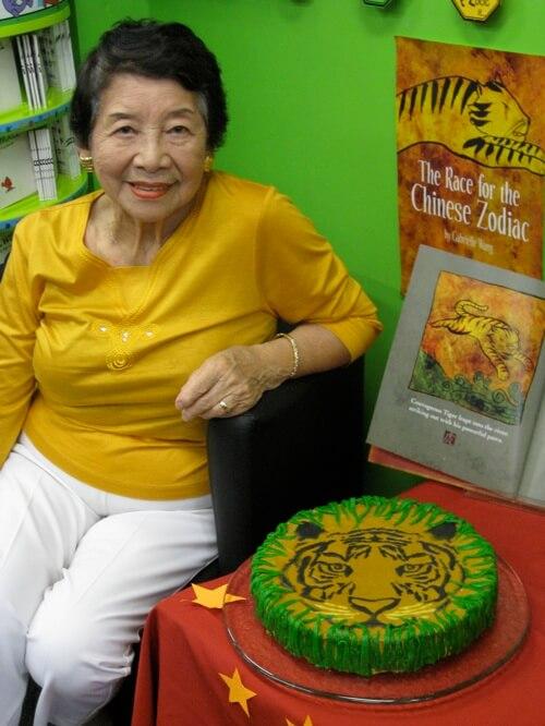 My mum guarding the cake