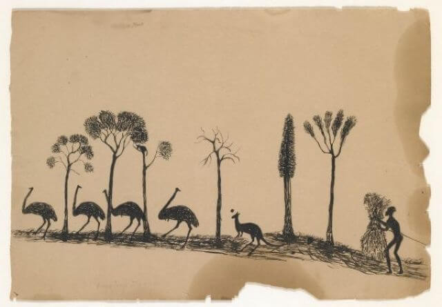 Pen and ink by Tommy McRae, an aboriginal artist in Wahgunyah in the late 1800's.